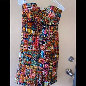 JFW Multi Colored abstract sleeveless lined dress